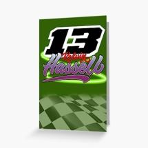 13 Kelvin Hassell Brisca F1 Stock Car Racing greetings card