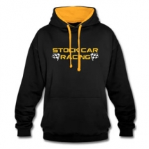 Stock Car Racing yellow logo with flags Hoodie
