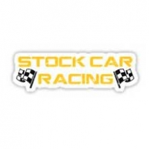 Stock Car Racing yellow logo Sticker
